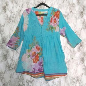 La Cera Plear Front Floral Cotton Tunic